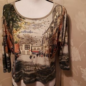 TAKE TWO CLOTHING CO TOP with city & country scene